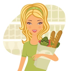 Woman holding food vector image