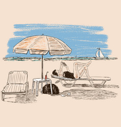 Woman sunbathing on the beach vector
