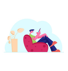 Young smiling male character sitting on armchair vector