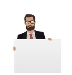 Businessman with white board for the website vector image