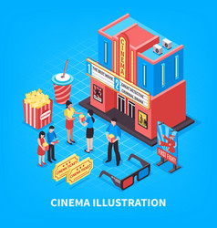 cinematography isometric design concept vector image vector image
