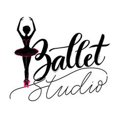 dance studio logo with young ballerina vector image