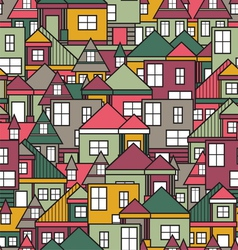 House seamless pattern vector image