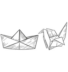 paper origami for boat and bird vector image vector image