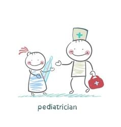 pediatrician checks the childs temperature vector image vector image