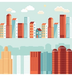 city in flat simple style vector image vector image