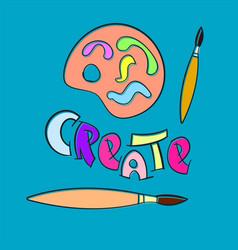 create paint brush palette craft hobby vector image