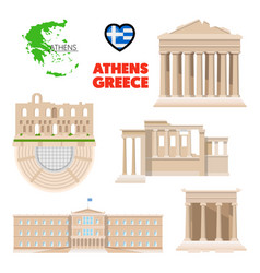 greece athens travel set with architecture vector image