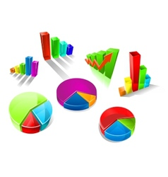 Set of colorful 3d graphs and charts vector image