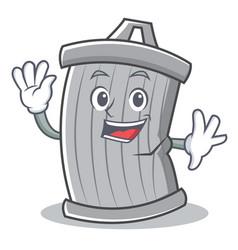 waving trash character cartoon style vector image vector image
