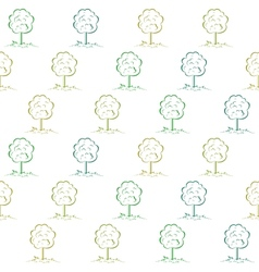 Deciduous tree on a meadow seamless vector image