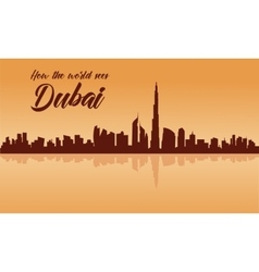 Dubai city skyline silhouette with brown vector