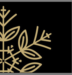 golden snowflake on a black background close-up vector image
