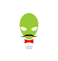 Green alien with mustache and bow-tie logo vector image
