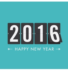 happy new year 2016 card mechanical timetable blue vector image vector image