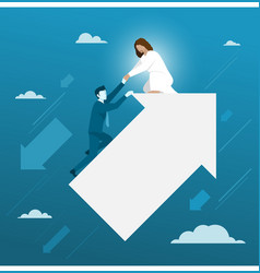jesus helping businessman from falling down vector image