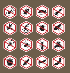 Pests insects bugs prohibition repellent sign vector
