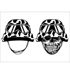 Skull in helmet and helmet vector image