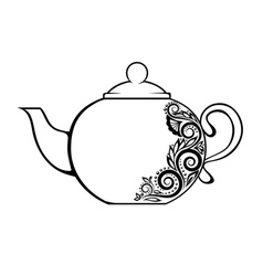 teapot decorated black and white floral ornament vector image