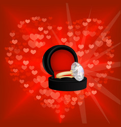 Valentine background with red heart and diamond vector image vector image
