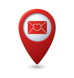 Mail icon with heart on the red map pointer vector image