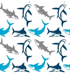 Sharks silhouettes seamless pattern vector image