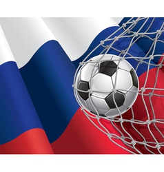 Soccer goal and Russia flag vector image vector image