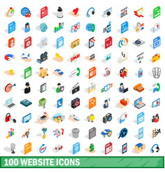 100 website icons set isometric 3d style vector image