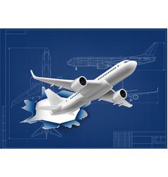 3d aircraft fly through hole in airplane blueprint vector