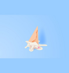 3d paper art and craft of cute cone white vanilla vector image