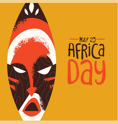 Africa day card tribal african mask art vector