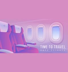 Airplane windows banner aircraft interior travel vector