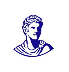 Ancient roman emperor looking side mascot vector