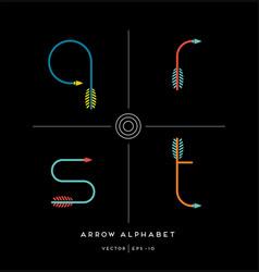 Archery arrow letters q r s t vector