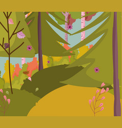 Autumn landscape trees forest leaves flowers vector