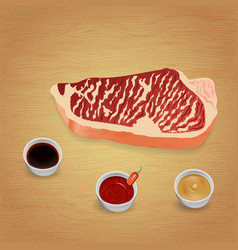 Beef steak with delicious sauces and spices vector