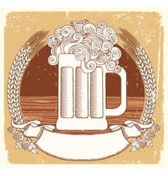 beer symbolvector vintage graphic illustration of vector image