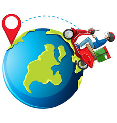 bike man or delivery man and a pin on earth vector image