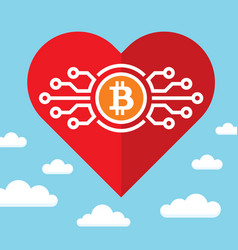 bitcoin and red heart on blue sky with clouds vector image