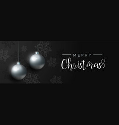 Black christmas luxury bauble ornament banner vector