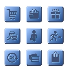 blue shopping icons set vector image