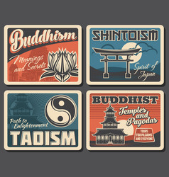 Buddhism shintoism and taoism religion vector