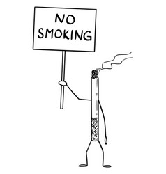 Burning cigarette cartoon character holding no vector