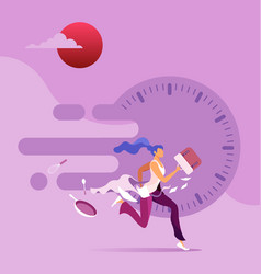 Businesswoman in a rush vector