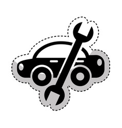 car with wrench mechanic tool icon vector image
