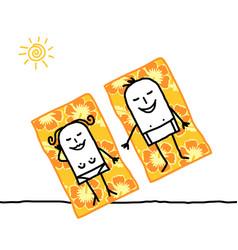 Cartoon couple on beach flower towels vector
