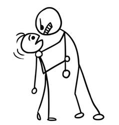 Cartoon of smaller man attacked by stronger man vector