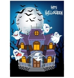 Cartoon scary Halloween house with funny ghosts vector