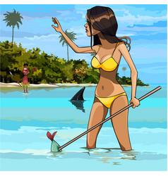 Cartoon woman in swimsuit fishing in the tropics vector