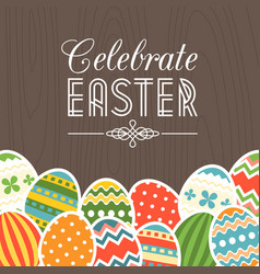 celebrate easter card with wooden background vector image